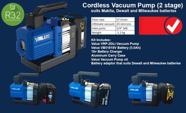 Cordless Vacuum Pump kit, double stage 2CFM
